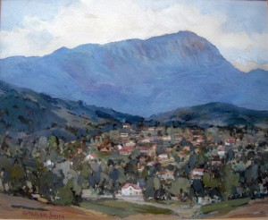 PA Travers-Smith - scene of Mt Wellington and Hobart