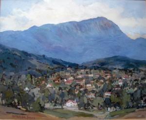 PA Travers-Smith - scene of Mt Wellington and Hobart