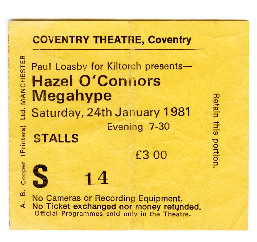 Hazel O'Connor ticket